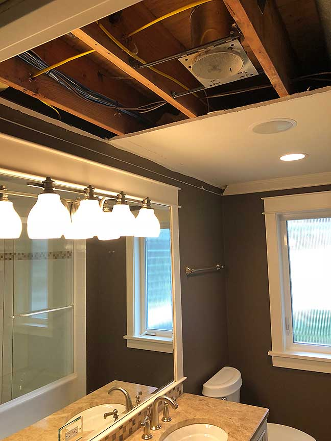 Bathroom Electrical Damage repair In Edmonds, Wa.
