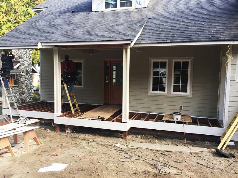 Langley, WA. Custom front deck construction