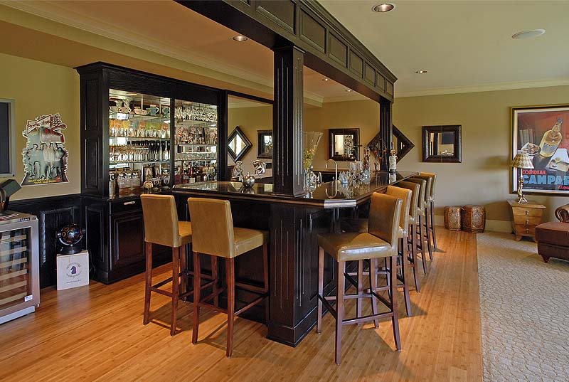 Woodway, Wa custom home bar and entertainment room