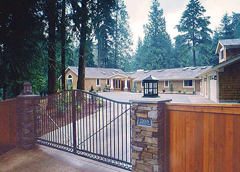 Woodway Wa. Custom home gated Entrance