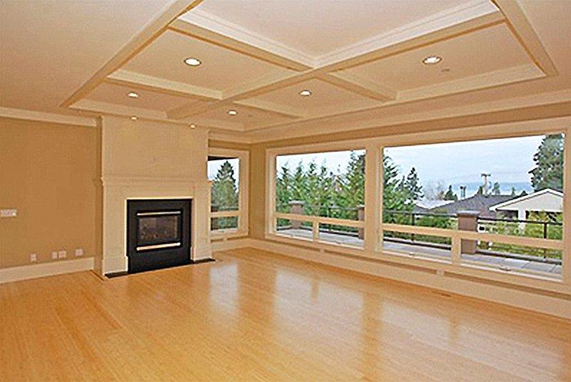 Kirkland custom home designed fireplace and living room